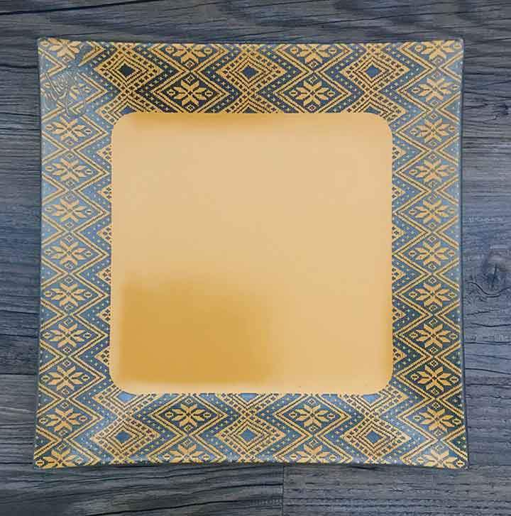 Dessert & Salad Plate, border tilet design, yellow