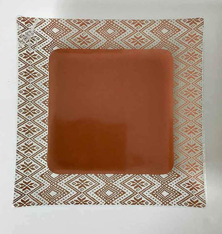 Dinner Plate, border tilet design, copper