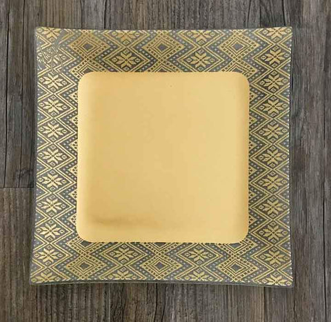 Dinner Plate, border tilet design, gold