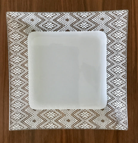 Dinner Plate, border tilet design, silver