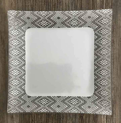 Dinner Plate, border tilet design, white