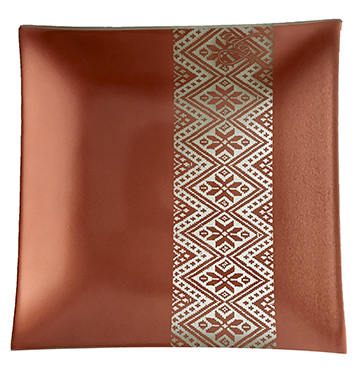 Dinner Plate, tilet stripe design, copper