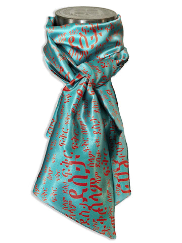 Orange on Teal scarf