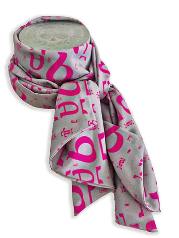 Grey and Fuscia scarf
