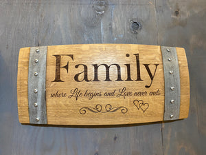 Family Wine Barrel Stave Sign/Laser Engraved/Laser Engraving/Personalized/Wedding/Wall Art/Wall Hanging/Free Shipping