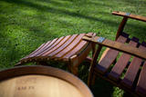 Adirondack Chairs made from Retired Wine Barrels and 2 Ottoman Foot Rests