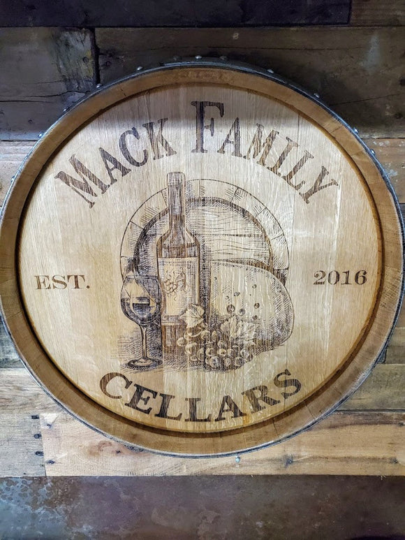 Personalized Barrel Head Family Cellar Est. Date: Wall Art/Lazy Susan/Wall Clock