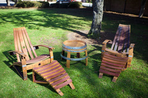 2 Wine Barrel Adirondack Chairs & Side Table Set Plus 2 Ottomans