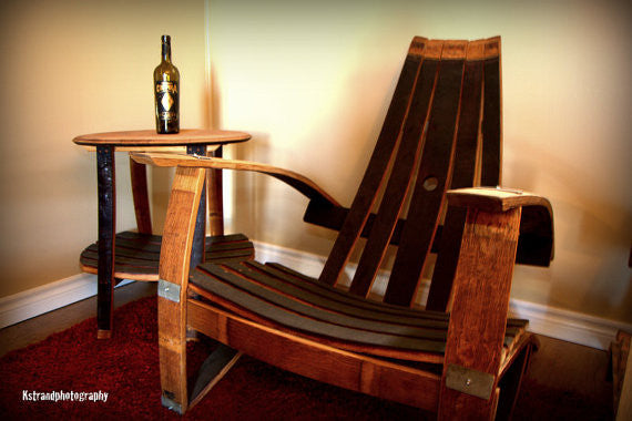 2 Wine Barrel Adirondack Chairs & Side Table Set
