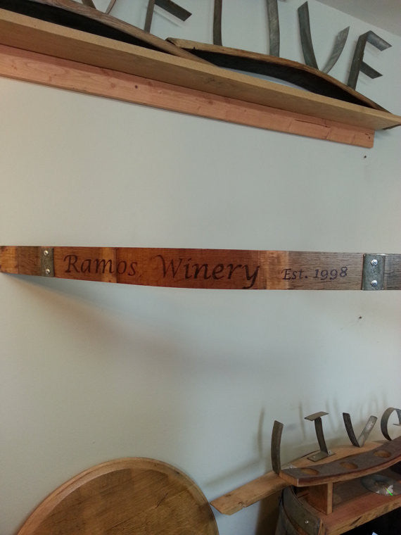 Custom Engraved Woodburned Wine Barrel Stave