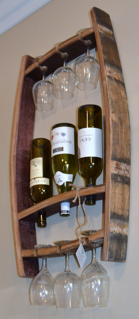 barrel stave hanging wine bottle and glass holder