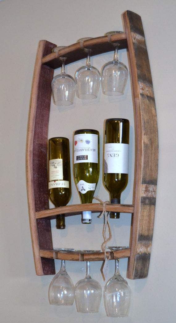 Barrel Stave Hanging Wine Bottle And Glass Holder The Winey Guys