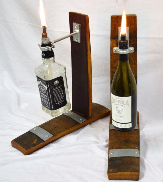 Table Top Wine Barrel Tiki Torch