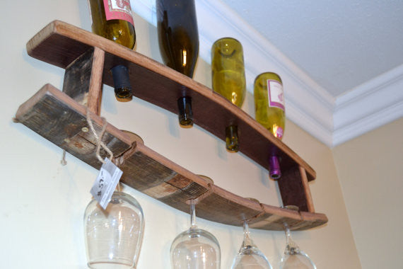 Wine Bottle & Glass Barrel Stave Display