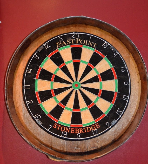 Barrel Head Dart Board kit with 2 chalkboard stave scorers (no dart board)