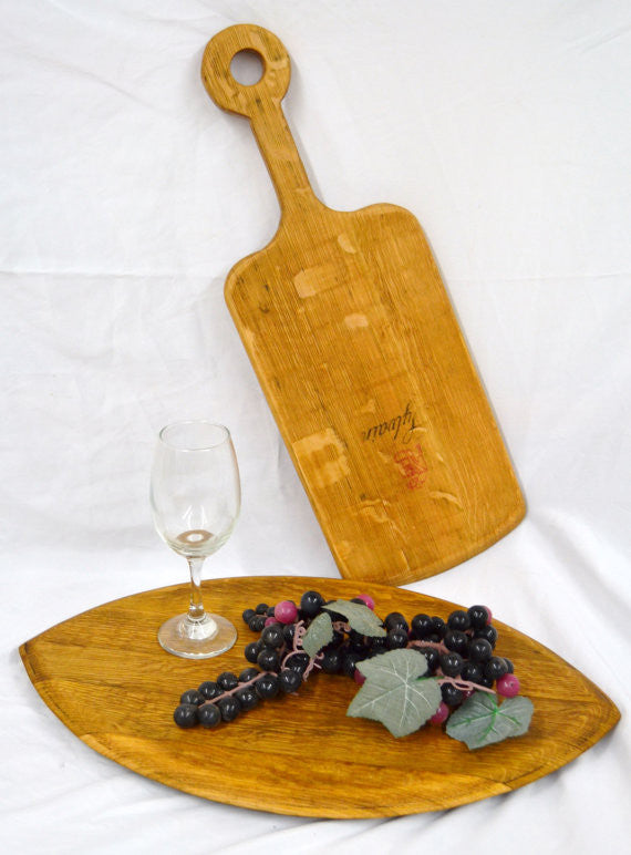 Wine Barrel Cutting Board & Paddle Set