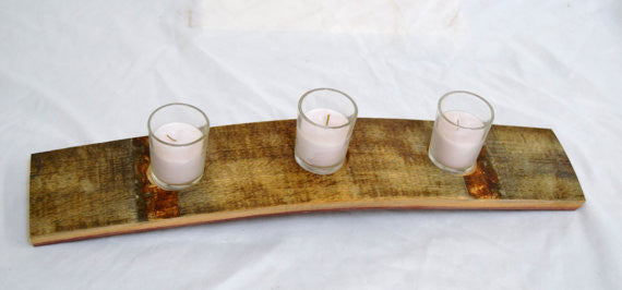 Wine barrel stave votive candle holder
