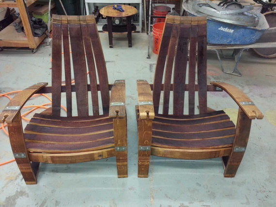 2 Wine Barrel Adirondack Chairs