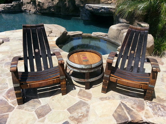 2 Wine Barrel Adirondack Chairs Side Table Set The Winey Guys