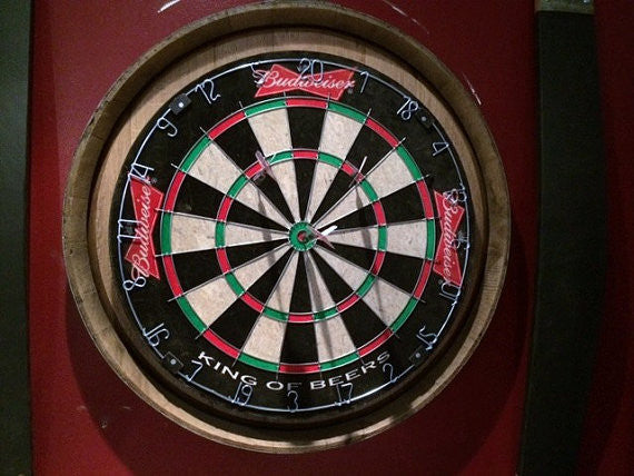 Budweiser Wine barrel head dart board kit with 2 chalkboard stave scorers