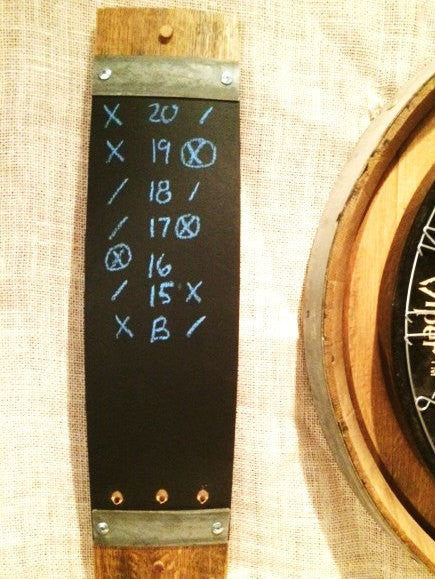 Set of 2 Wine Barrel stave chalkboard dart scorers