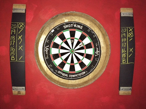 Wine Barrel Head Dartboard & Chalkboard Scorers kit