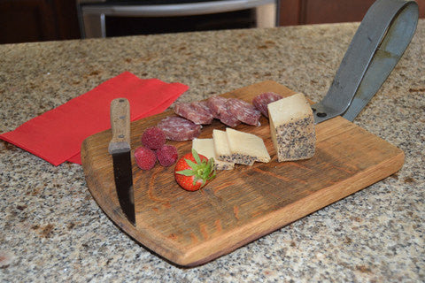 Wine Barrel Head Cutting Board Server