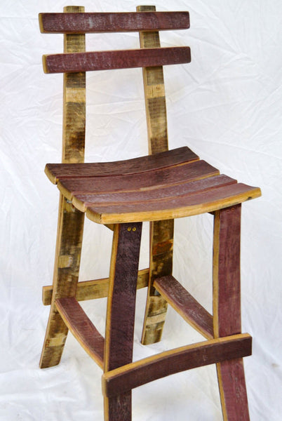 Wine Barrel Bar Stool w/ back