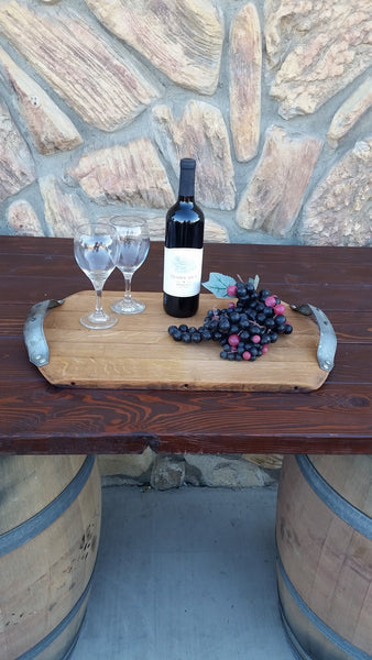 Wine Barrel Head Serving Tray or Cutting Board