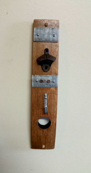 Barrel Stave Bottle Opener & Hook