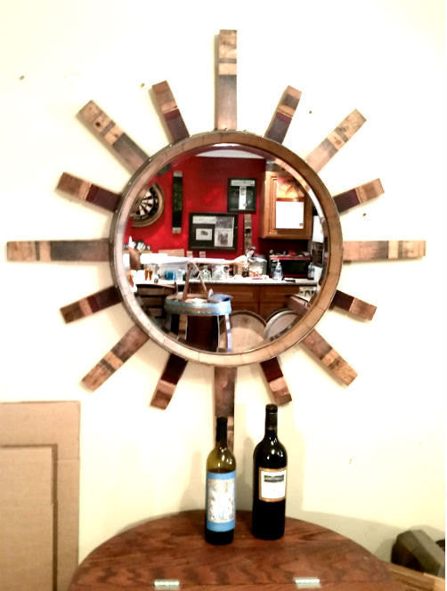 Sun Mirror Wine Barrel Head