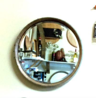 Wine Barrel Head Wall Mirror