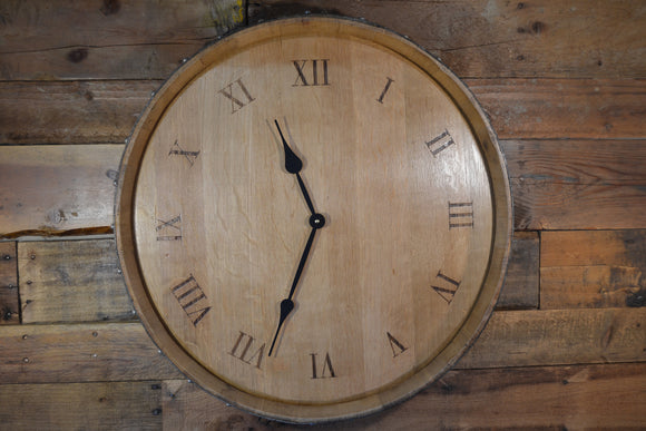 Custom Reclaimed Wine Barrel Head: Wall Clock