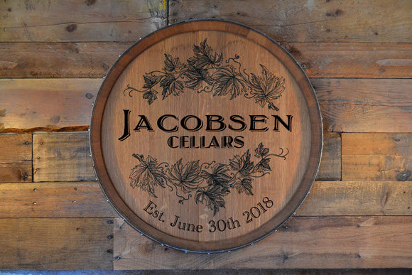 Personalized Reclaimed Wine Barrel Head: Lazy Susan/Wall Art