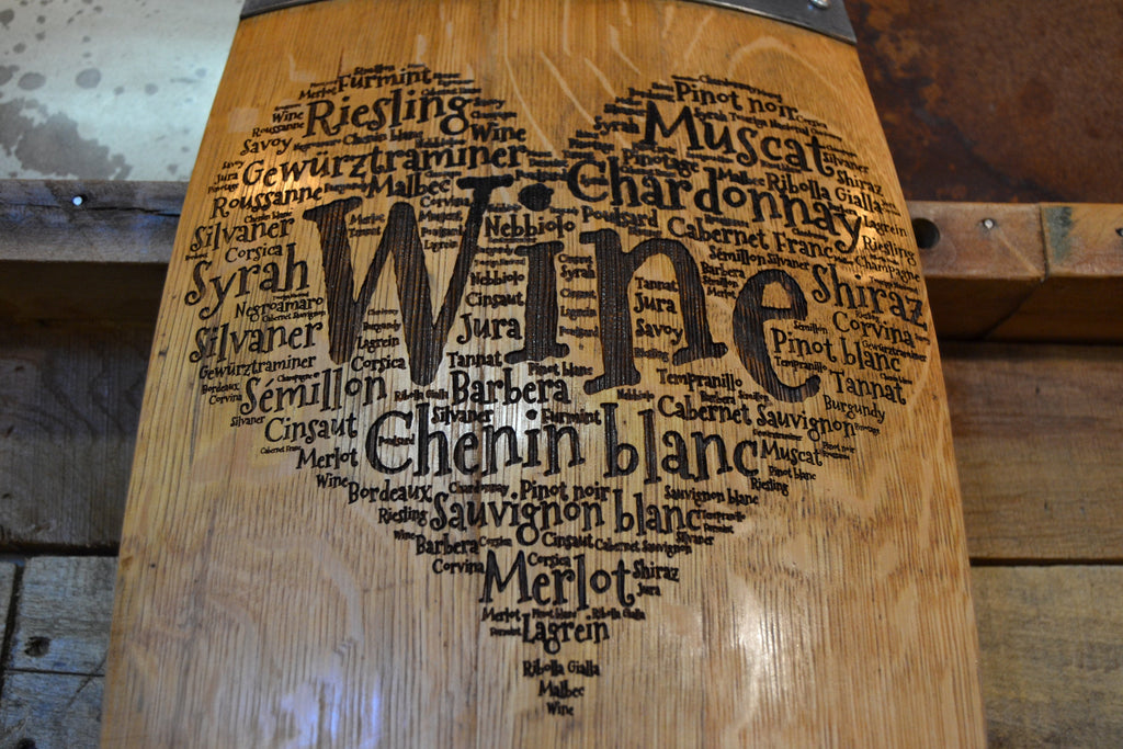 Heart of Wine Barrel Stave Sign/Laser Engraved/Laser Engraving/Personalized/Wedding/Wall Art/Wall Hanging/Free Shipping