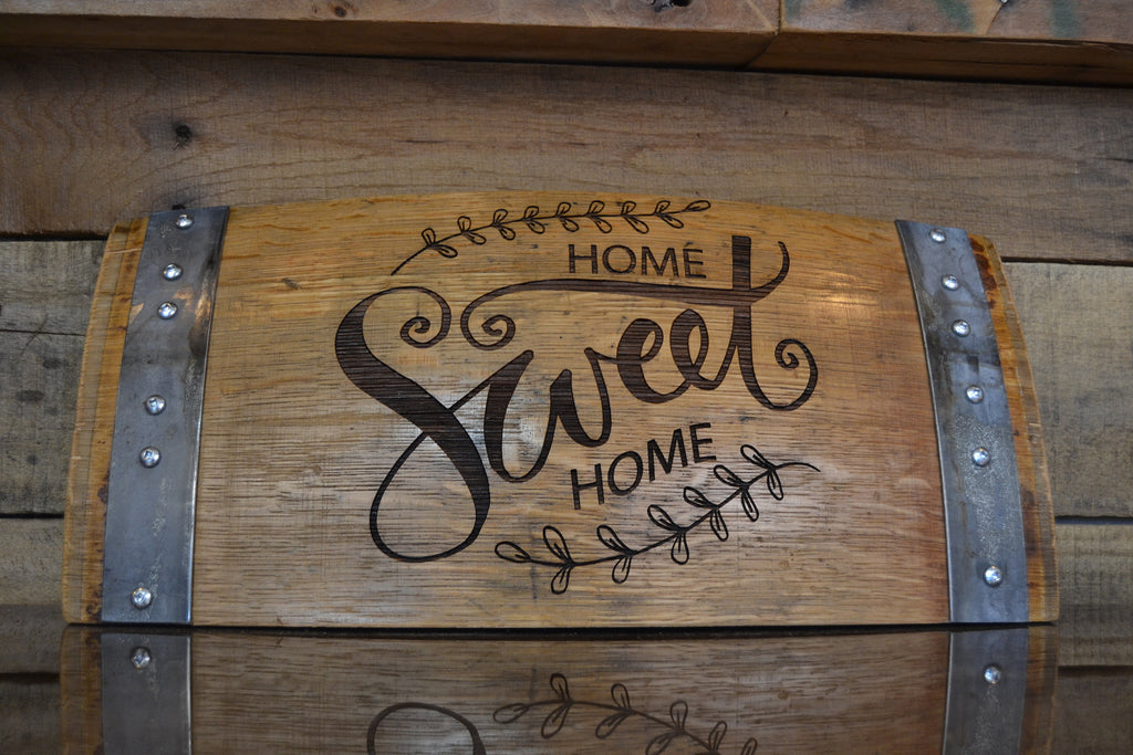Home Sweet Home Wine Barrel Stave Sign/Laser Engraved/Laser Engraving/Personalized/Wedding/Wall Art/Wall Hanging/Free Shipping