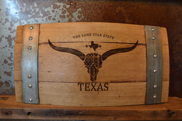 Texas The Lone Star State Wine Barrel Stave Sign