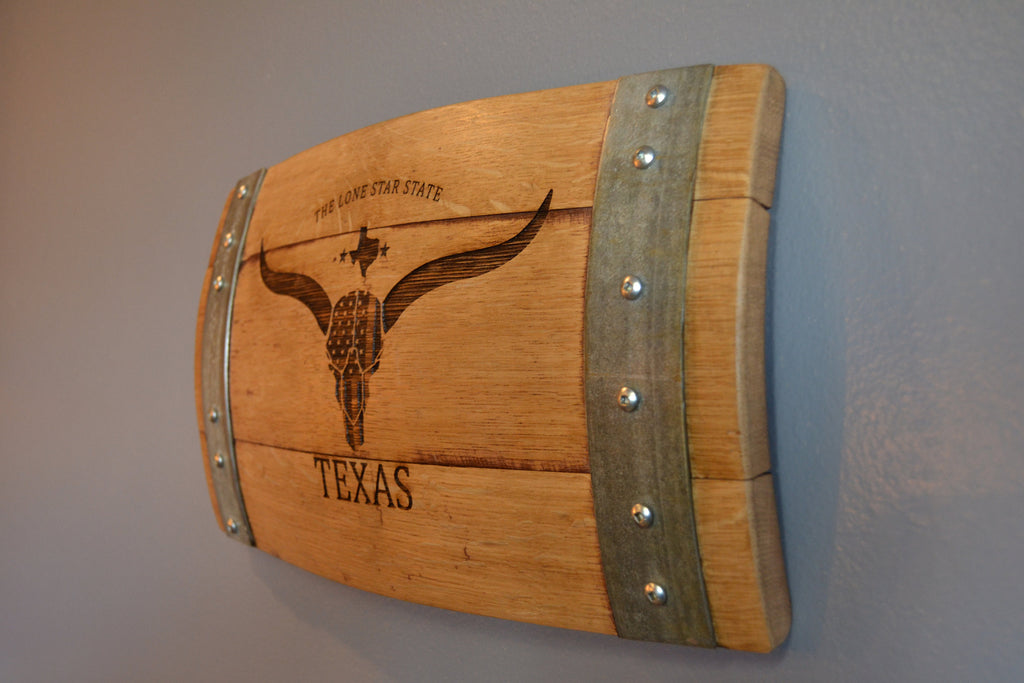 Texas The Lone Star State Wine Barrel Stave Sign/Laser Engraved/Laser Engraving/Personalized/Wedding/Wall Art/Wall Hanging/Free Shipping