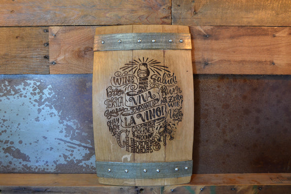 VIVA LA VINO Wine Barrel Stave Sign/Laser Engraved/Laser Engraving/Personalized/Wedding/Wall Art/Wall Hanging/Free Shipping