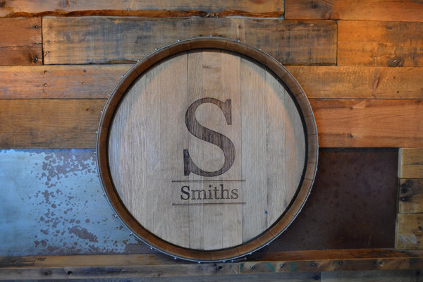 Personalized Monogram Reclaimed Wine Barrel Head/Lazy Susan/Clock/Wall Art/Wall Hanging/Laser Engraved/Wedding Gift/Free Shipping
