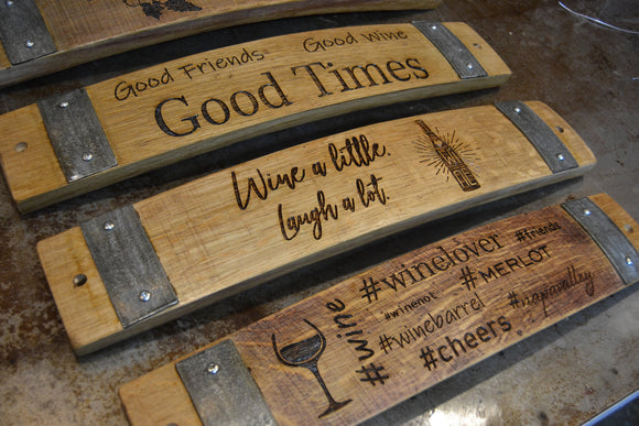 Fun Wine Barrel Stave Signs
