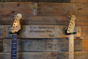 Personalized Wine Stave Double Guitar Holder