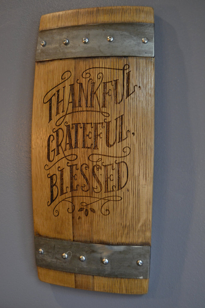 Thankful Grateful Blessed Wine Barrel Stave Sign/Laser Engraved/Laser Engraving/Personalized/Wedding/Wall Art/Wall Hanging/Free Shipping
