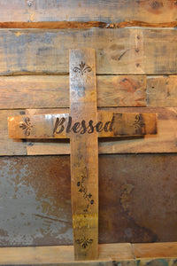 Custom Laser Engraved Wine Barrel Stave Wall Cross
