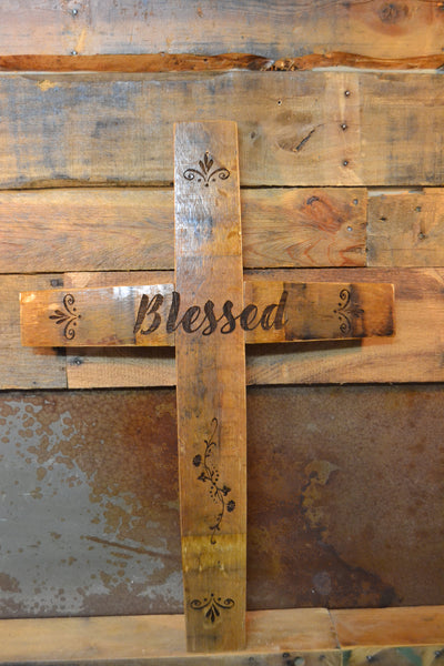 Custom Laser Engraved Wine Barrel Stave Wall Cross/Wall Hanging/Personalized