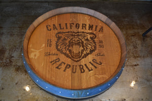 Personalized Reclaimed Wine Barrel Head: Lazy Susan or Wall Art