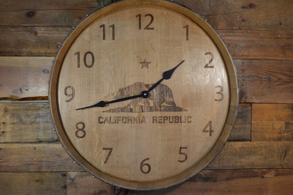 Personalized Reclaimed Wine Barrel Head: Wall Clock - California Republic