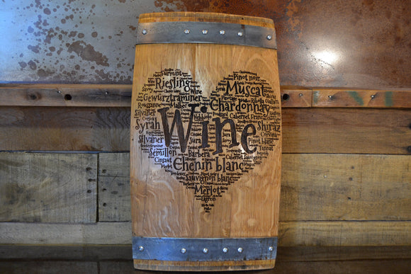 Heart of Wine Barrel Stave Sign