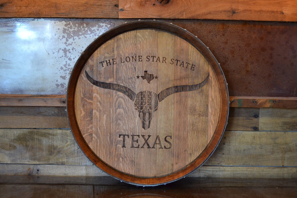 Texas The Lone Star State Reclaimed Wine Barrel Head/Lazy Susan/Clock/Wall Art/Laser Engraved/Laser Engraving/Wedding Gift/Free Shipping