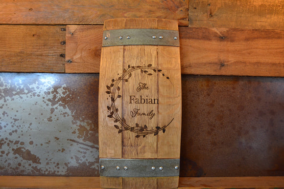 Personalized Family Name Wine Barrel Stave Sign